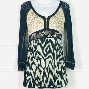 KRISTA LEE Black & Tan Mixed Media Tunic Top